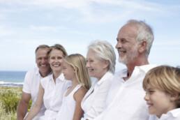 Imagefoto Familie mit Enkeln, Eltern, Großeltern in den Dünen