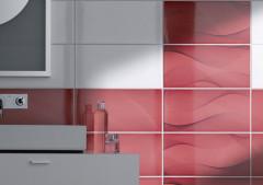 Wandfliesen im Querformat in weisse und rot am Waschbeckenwand
