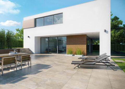 Fliesen in Natursteinoptik auf moderner Terrasse
