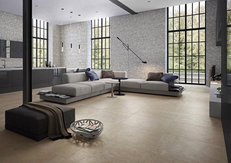 urbaner wohnstil mit fliesen im gro format. Black Bedroom Furniture Sets. Home Design Ideas