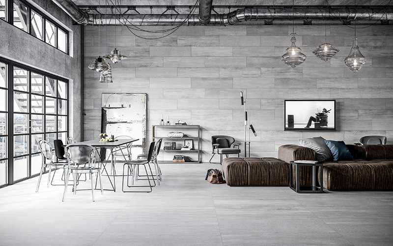 Anthrazitfarbene Fliesen an Wand und Boden sind ideal für den urbanen Loftlook.