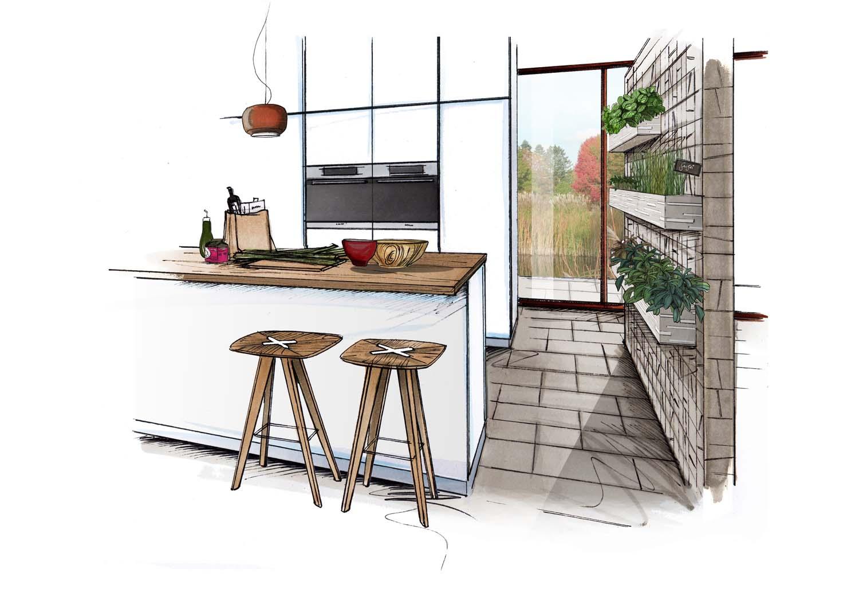 Hingucker: Gefliester Raumteiler Zwischen Küche Und Essbereich