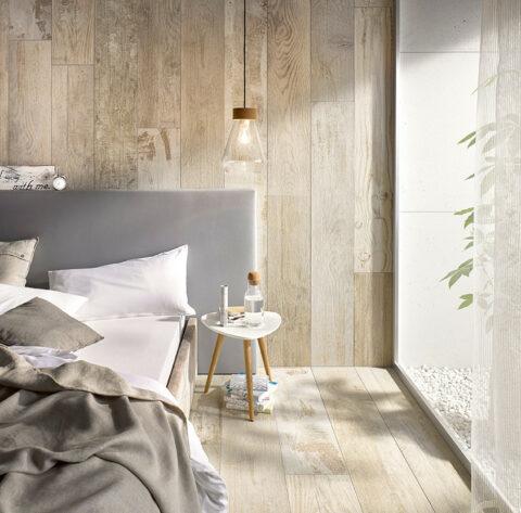Holzfliesen für das Schlafzimmer