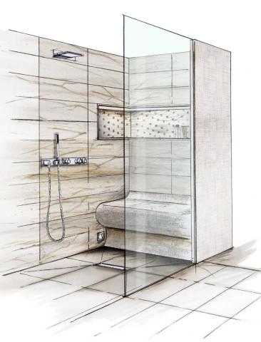 Barrierefreies Bad: Skizze einer begehbaren, bodenebene Dusche mit verfliester Sitzbank