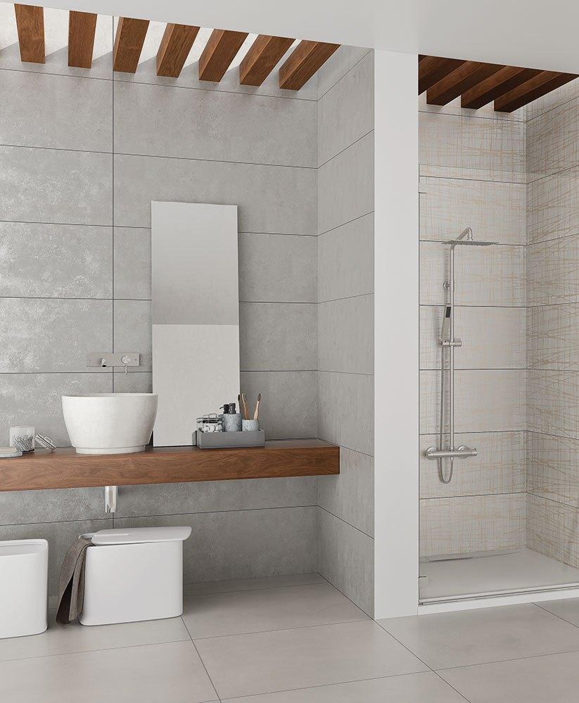 Der Loft Stil fürs Bad mit Fliesen in Beton  oder Zementlook
