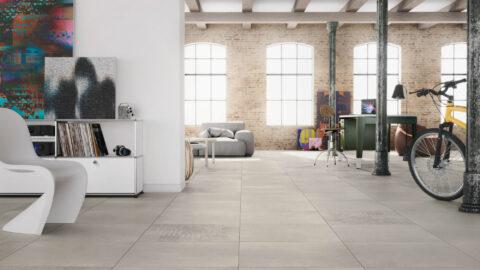 Wohnen im Loft-Style mit großformatigen Fliesen