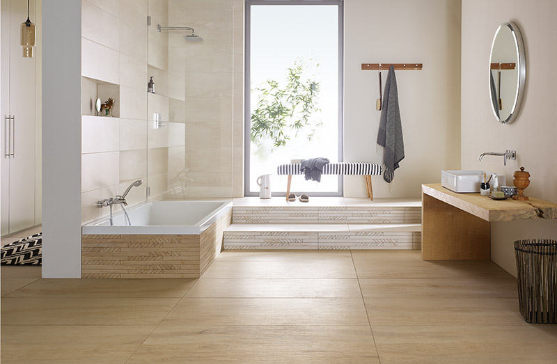 wohlfhlbad fr die ganze familie fliesen in holzoptik - Badezimmer Holzfliesen