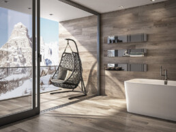 Fliesen mit Holzanmutung für das Bad