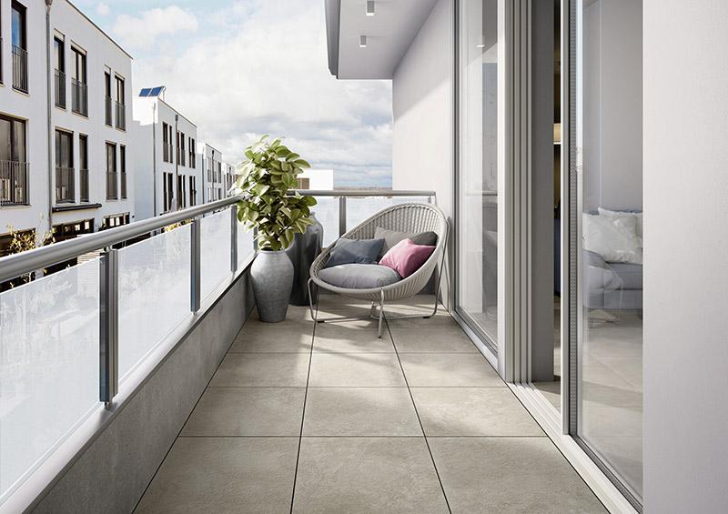 Outdoorfliesen in Natursteinoptik sind auch perfekt für den Balkon