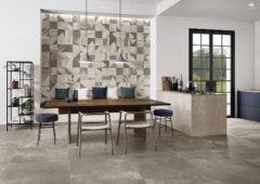 Eine Küche mit Wandfliesen in Betonoptik
